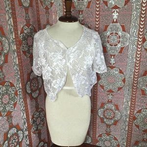 White vintage lace bolero shrug — wedding/formal
